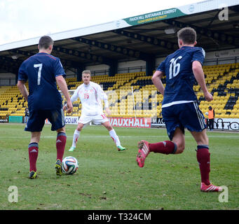 LIVINGSTON, SCOTLAND - 5th MARCH 2014: Scotlands Mens U19s playing against - Stock Photo