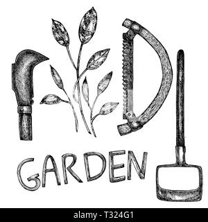 Grafic illustration of garden tools. Isolated on white background - Stock Photo