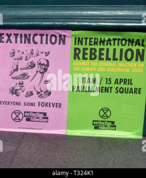 Posters for Extinction Rebellion climate change protest, London - Stock Photo