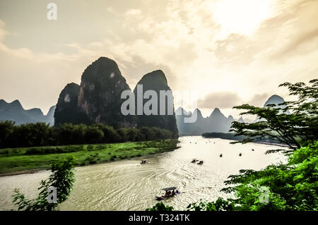 View on Karst mountains and limestone peaks of Li river in China - Stock Photo