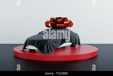 Car covered by black fabric with gift bow-knot. 3d render - Stock Photo