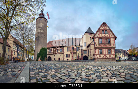 Panoramic view of Tauberbischofsheim Castle and Turmersturm tower in Tauberbischofsheim, Baden-Wurttemberg, Germany - Stock Photo