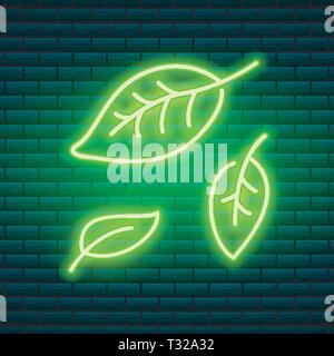 Tropical neon sign. Green plant or leaves. Night bright signboard, Glowing icon, light banner. Summer logo for Club or bar on dark background. Editabl Stock Photo