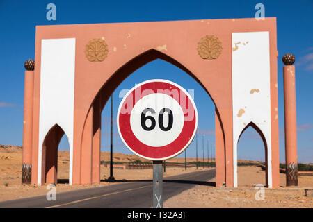 Laayoune city gate. Laayoune, Western Sahara, Morocco. - Stock Photo
