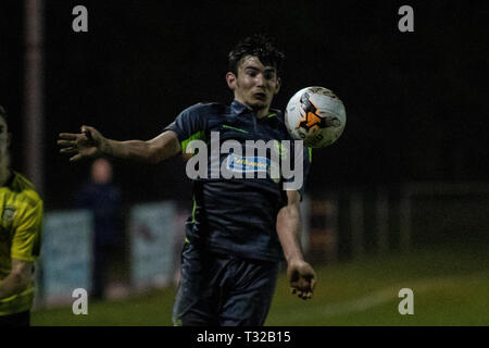 Taffs Well v Penybont in Welsh Football League Division One at the Rhiw'r Ddar Stadium. - Stock Photo