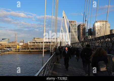 London's Southbank and the City taken from Charing Cross Bridge - Stock Photo