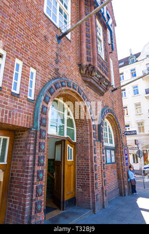 Hamburg, Germany - June 25, 2014: Davidwache (Davids Watch), the best known police station in Hamburg, located in St.Pauli quarter near Reeperbahn. To - Stock Photo