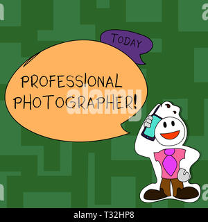 Text sign showing Professional Photographer. Business photo text demonstrating who takes photographs especially as job Smiley Face Man in Necktie Hold - Stock Photo