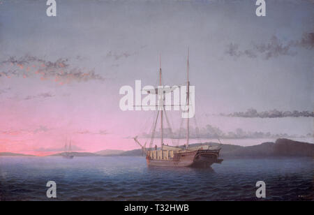 Fitz Henry Lane, Lumber Schooners at Evening on Penobscot Bay, American, 1804 - 1865, 1863, oil on canvas, Gift of Mr. and Mrs. Francis W. Hatch, Sr. - Stock Photo