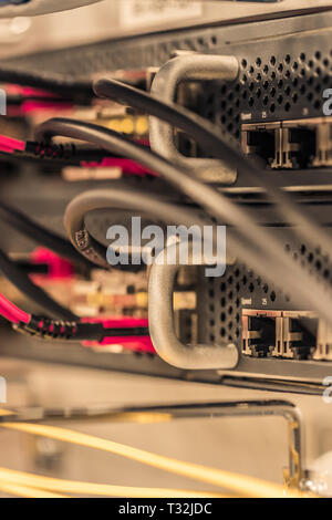 Close up of network cables on panels in a server room - Stock Photo