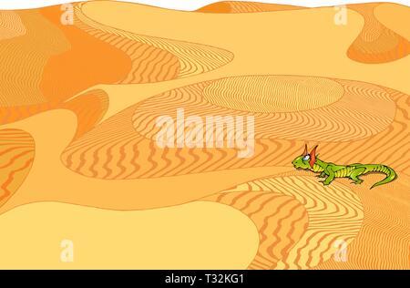 On the background of yellow desert green lizard - Stock Photo