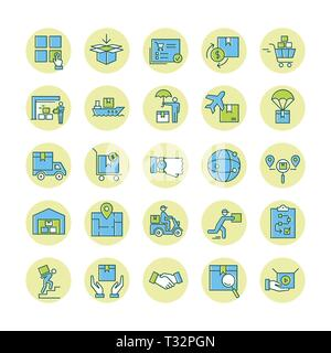 Colorful Isolated on white background fast delivery logistic icons big set in flat style. Vector icons for web, infographic or print. - Stock Photo