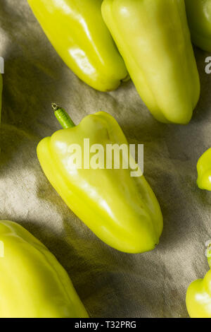 Raw Yellow Organic Gypsy Peppers Ready to Cook - Stock Photo