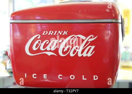 Old fashion coca cola cooler - Stock Photo