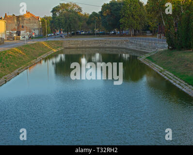 ZRENJANIN, SERBIA, OCTOBER 14th 2018 - River bank with a concrete dock - Stock Photo