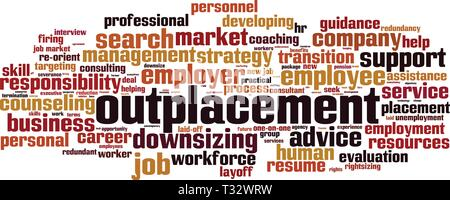 Outplacement cloud concept. Collage made of words about outplacement. Vector illustration - Stock Photo