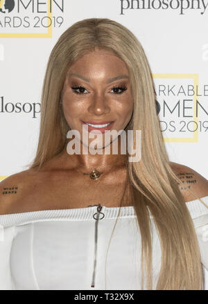 Guests attend the Stylist's inaugural Remarkable Women Awards in partnership with philosophy at Rosewood London  Featuring: Munroe Bergdorf Where: London, United Kingdom When: 05 Mar 2019 Credit: Phil Lewis/WENN.com - Stock Photo