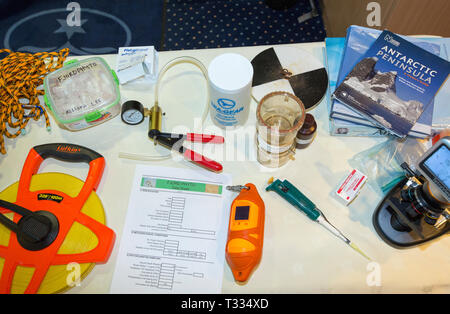 Scientific equipment, part of a citizen sceince project, studying marine algae and plankton, on an expedition cruise ship to Antarctica. - Stock Photo