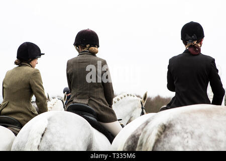 Young horse riders of The Old Surrey Burstow and West Kent Hunt gather at Chiddingstone Castle for the traditional Boxing Day meet in Kent, UK - Stock Photo