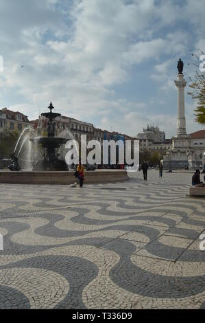 Figueira Square In Lisbon. Nature, Architecture, History, Street Photography. April 11, 2014. Lisbon, Portugal. - Stock Photo
