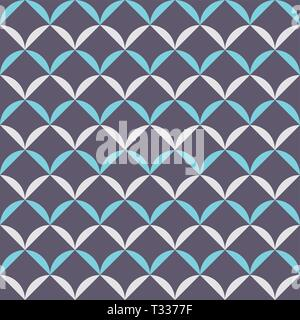 Abstract vector seamless pattern in Chinese style. Repeating geometric tiled ornament. Geometric lattice. Rounded symmetic shapes. Stylish texture. - Stock Photo