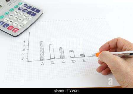 Hand-made drawing of a graphic on the squared sheet, The man's hand is on the desk, working and moving. - Stock Photo