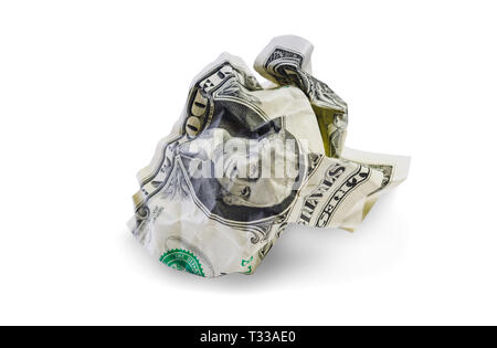 One crumpled dollar isolated on white background. Clipping path included - Stock Photo