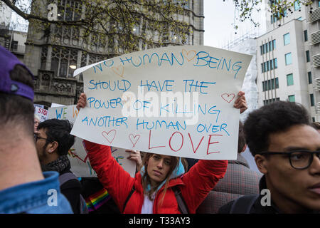 Protest outside The Dorchester hotel in London against the new Brunei anti-gay laws - 6 Apr 2019 - Stock Photo