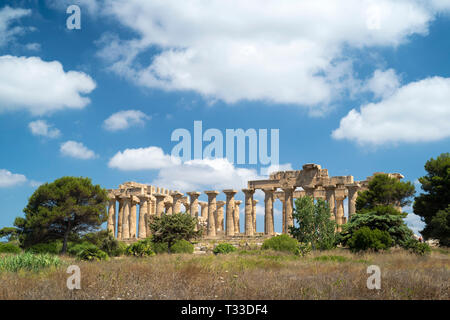In the landscape, ruins of ancient temples at Selinunte in Sicily, Italy - the largest archeological park in Europe. - Stock Photo