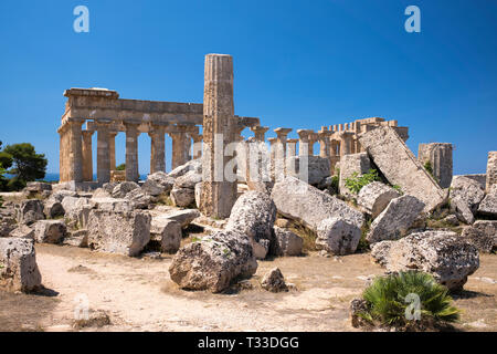 Ruins of ancient temples at Selinunte in Sicily, Italy - the largest archeological park in Europe. - Stock Photo