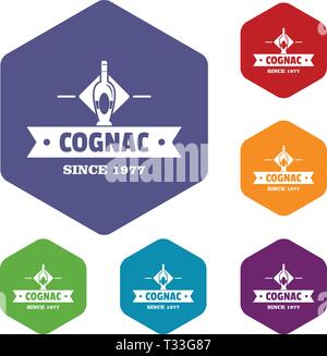 Bottle cognac icons vector colorful hexahedron set collection isolated on white - Stock Photo