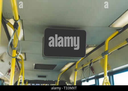 LCD Screen announcement on public transportation. black TV without information inside the bus. Video advertising in public transport. Mock up electron - Stock Photo