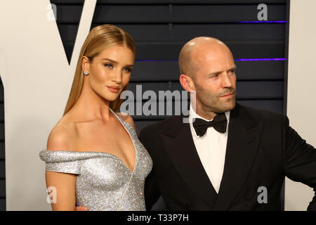 February 24, 2019 - Beverly Hills, USA - LOS ANGELES - FEB 24:  Rosie Huntington-Whiteley, Jason Statham at the 2019 Vanity Fair Oscar Party on the Wallis Annenberg Center for the Performing Arts on February 24, 2019 in Beverly Hills, (Credit Image: © Kay Blake/ZUMA Wire) - Stock Photo