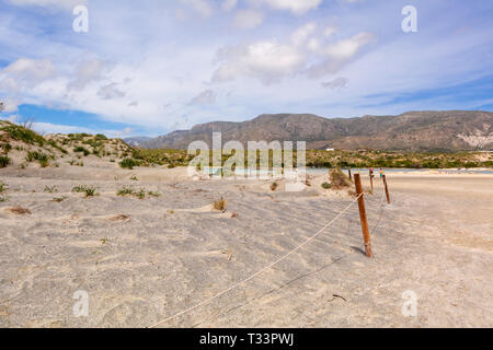 Scenery of desert at the reserve zone with sand dunes on Elafonisi beach, Crete island, Greece - Stock Photo