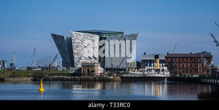 Belfast Harbour and the Titanic Quarter of Belfast in Northern Ireland - Stock Photo