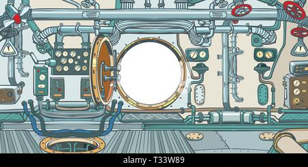 compartment or command deck of a spaceship. Pop art retro vector illustration vintage kitsch - Stock Photo