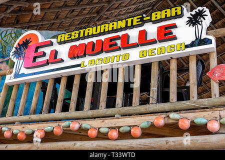 Cartagena Colombia El Laguito sign El Muelle Restaurante Bar restaurant Lagito Beach sign coastal decor front entrance - Stock Photo