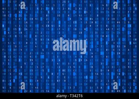 Random hexadecimal code. Abstract digital data element. Matrix background. Vector illustration - Stock Photo