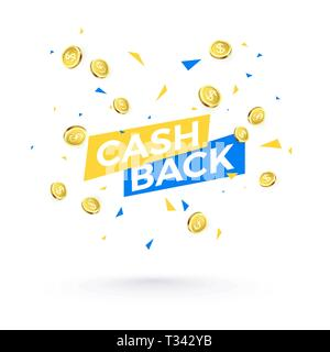 Cashback banner concept. Cashback text and falling confetti and golden coins. Vector illustration isolated on white background - Stock Photo