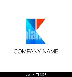 Logotype. Geometric shapes rectangle and triangle blue and red colors as letter K. Vector illustration isolated on white - Stock Photo