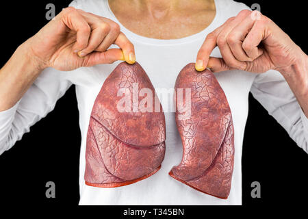 Human person holds two lung models in front of white chest isolated on black background - Stock Photo