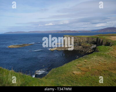 Columnar basalt in Tertiary plateau lava flow on the island of Staffa in the Inner Hebrides in Argyll and Bute, Scotland, UK - Stock Photo
