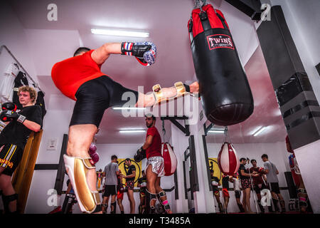 kick boxing training in a gym - Stock Photo