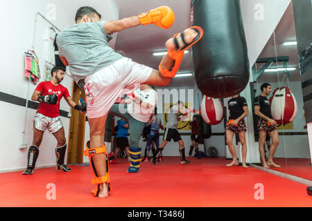 boxing training in a gym - Stock Photo