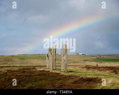 Standing stones in the Ring of Brodgar in Orkney, Scotland, UK - Stock Photo