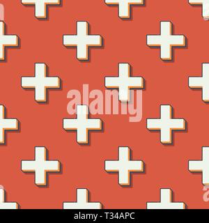 Retro crosses pattern, abstract geometric background in 80s, 90s style. Geometrical simple illustration - Stock Photo