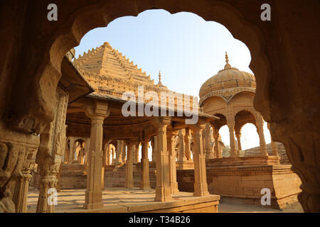 Bada Bagh, Jaisalmer, Rajasthan, India --- Cenotaphs old burial site of the rulers of jaisalmer Desert - Stock Photo