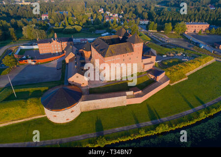 Hameenlinna Fortress close-up on a sunny July morning (aerial photography). Finland - Stock Photo