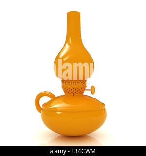 Retro yellow kerosene lamp icon. 3d render - Stock Photo