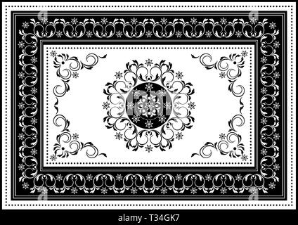 Vintage white frame with black oval ornament in the center of spiral stripes and black border with white  pattern - Stock Photo